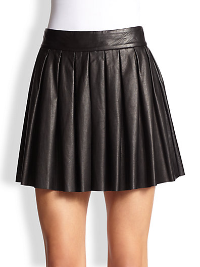 Alice + Olivia Leather Pleated Skirt