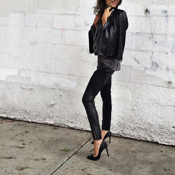 Last night's leather combo @rebeccaminkoff , leather jacket, leather pants, all black