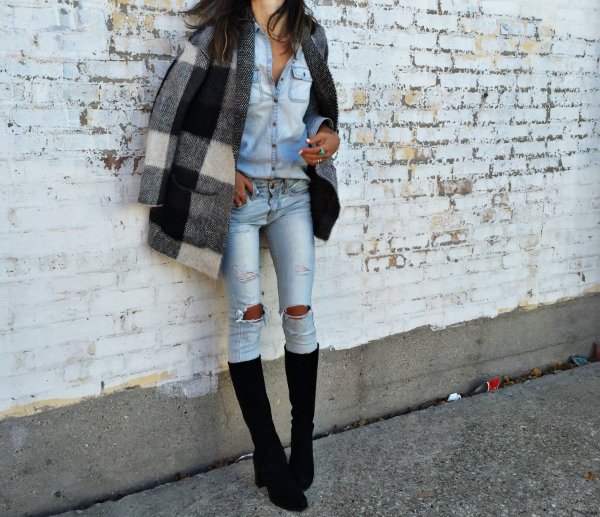{fashion} The One Black Boot, knee high boots, plaid coat