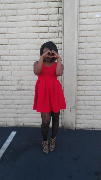 V-Day Inspired, valentine's day, red dress, heart, leopard