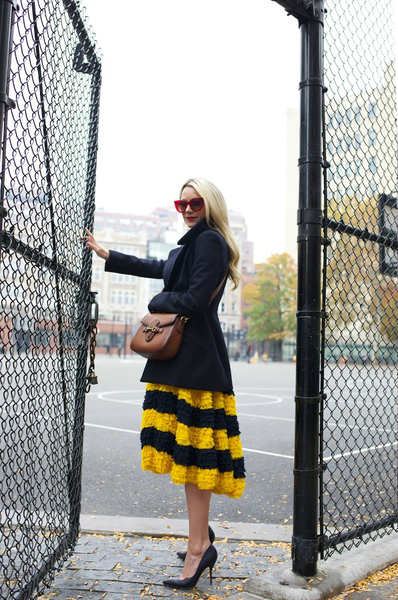 team spirit, midi skirt, peacoat, pump, winter coat