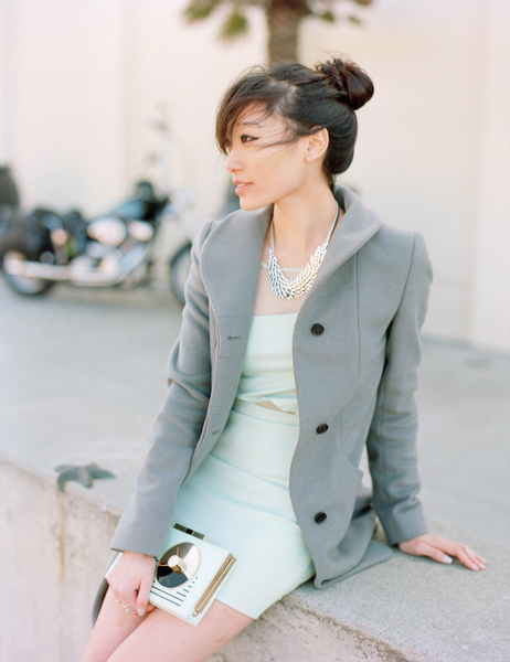 Ocean Breeze, mint dress, grey coat, kate spade clutch