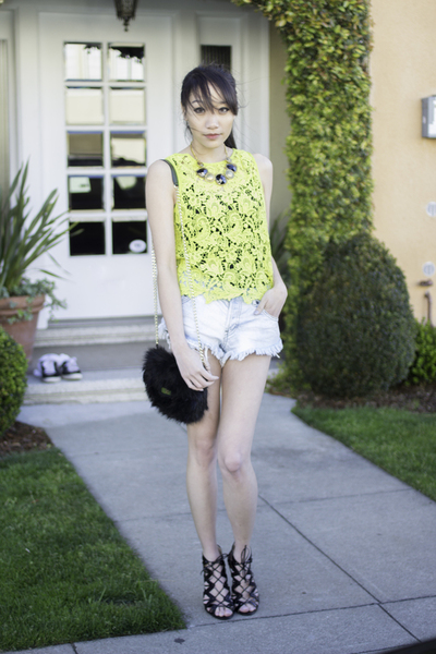 Lunch with the Girls, neon lace, yellow crochet, denim shorts
