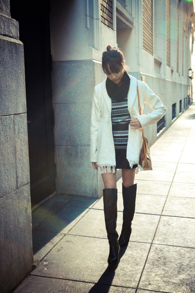 Stone Cold, winter coat over-the-knee boots sweater dress
