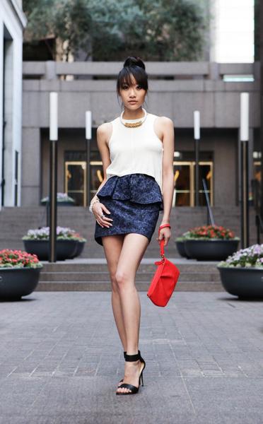 Modern Geisha, peplum skirt, sleeveless crop top