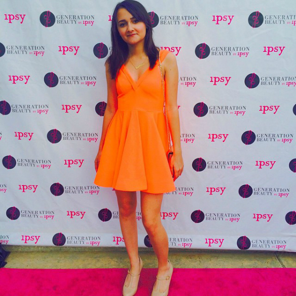 Michelle Phan's GenBeauty Party, orange, dress, maryjanes,