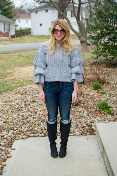 Super Ruffled Sweater + Riding Boots., tall boots, riding boots, neutrals, sweaters, sweater weather, chicwish, statement sleeves, casual style, spring style