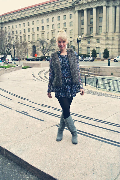 I wear my grandma's clothes (Part 1)..., tunic, vintage, fur vest, turquoise, retro, silver