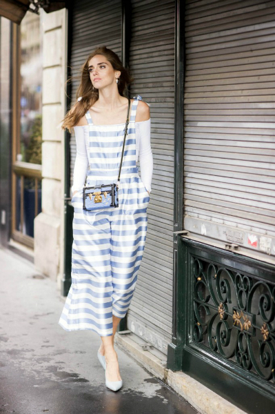 PARISIAN STRIPES, offshoulder, pointed shoes, overall, #POINTEDTOE