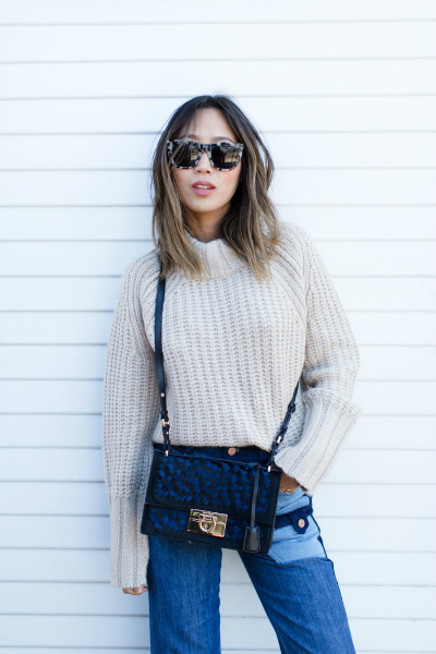 PATCHWORK DENIM, oversized sweater, patchwork denim, jeans, turtle neck chunky sweater
