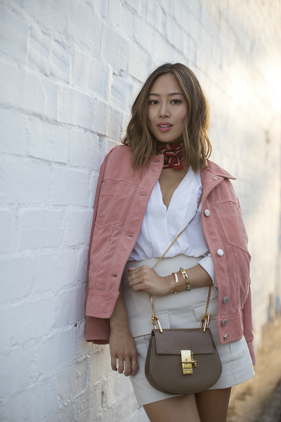 Pink Suede Jacket and a Scarf, LMjewelry