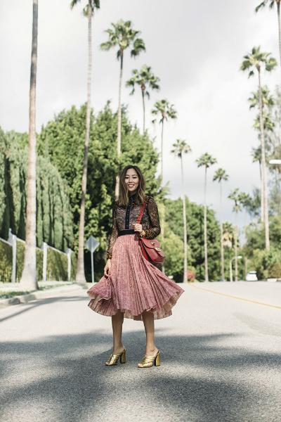 GUCCI CRUISE, midi skirt, lace shirt, lace skirt