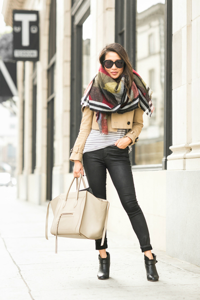 Up in the Air :: Cropped trench & Travel scarf, scarf, trench coat, ankle boots