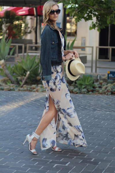 Denim & Florals, floral, denim, straw hat, summer style, chic, maxi dress, wedding guest, denim jacket, white heels