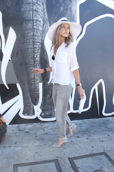 White after Labor Day, basic, chic, white, button down, denim, classy