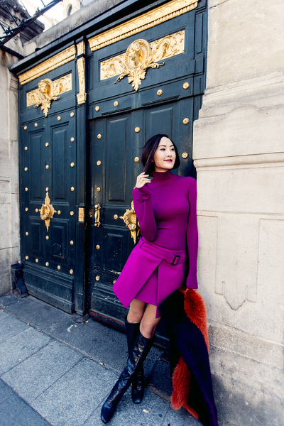 COLOR THEORY, knee high boots, purple