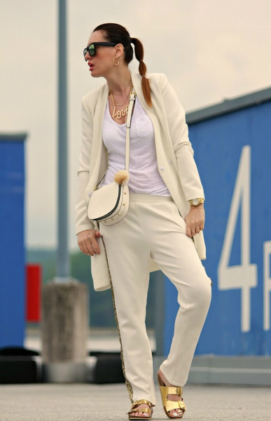 White and Gold, white, gold, joggers, coat