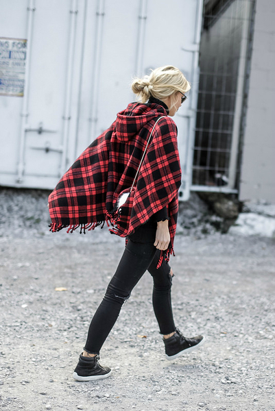 CHECKED, poncho, plaid, check