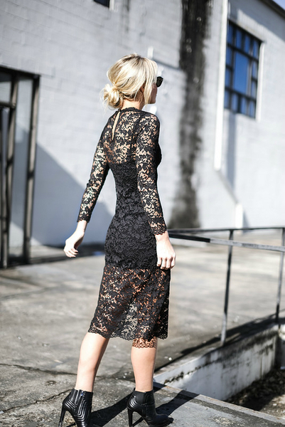 LET LACE, winter dress, black lace dress, midi dress, split dress