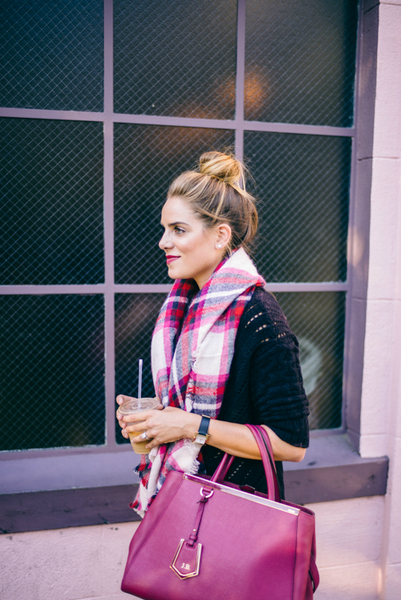 SWEATER SEASON, oversized sweater, scarf, plaid