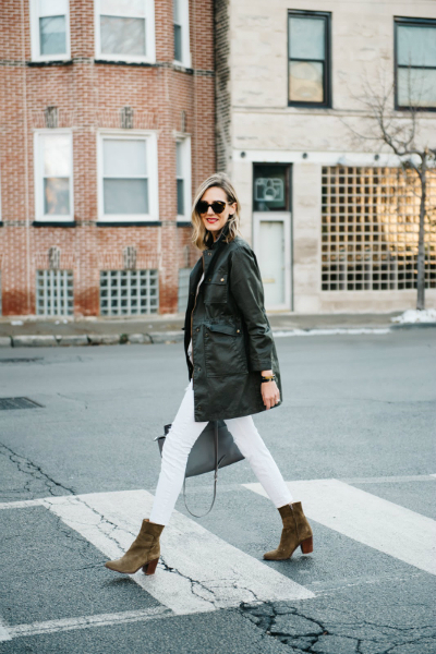 White Underneath (See Jane Wear), winter coat, military jacket, white jeans, army jacket