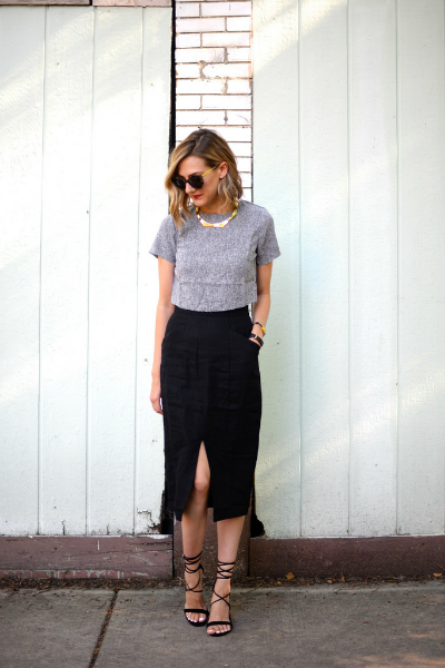 Crop Up (See Jane Wear), workwear, crop top, pencil skirt, lace up sandals