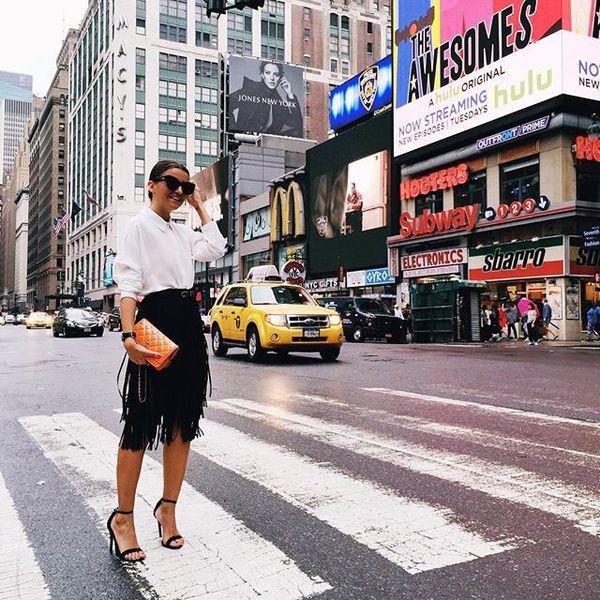 Happy girl in rainy NYC, nyfwss16, fringe, midi skirt