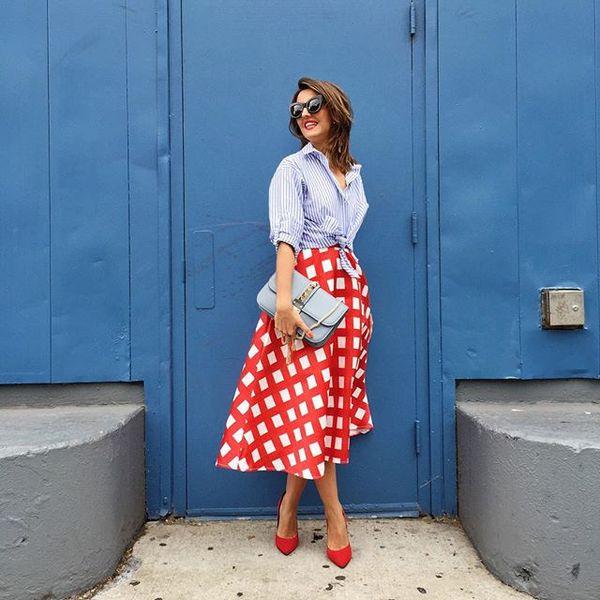 Lady like today before @poloralphlauren presentation, nyfwss16, check skirt, round skirt, stripe shirt, pump