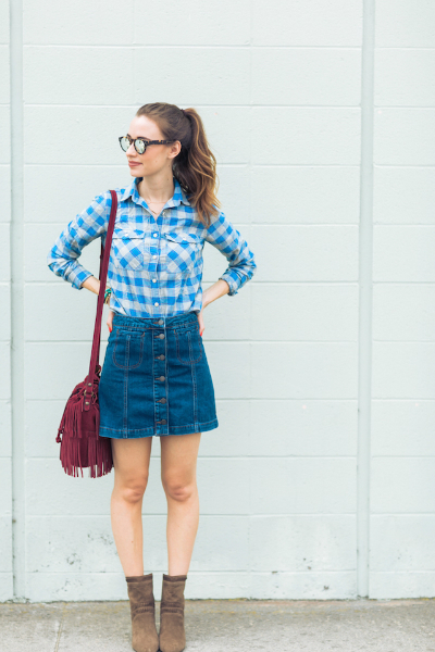 A LITTLE BIT COUNTRY, button down skirt, bucket bag