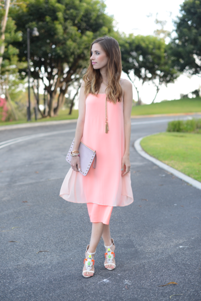 Cami Dress, wedding, coral, camidress, baublebar, asos, rebeccaminkoff, clutch, jeweledheel, girly