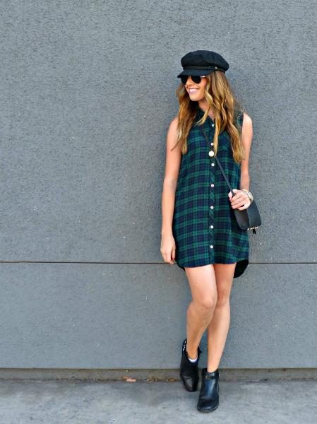 Plaid Flannel Shirt Dress, plaid, flannel, dress, shirt, boots, cap, fall
