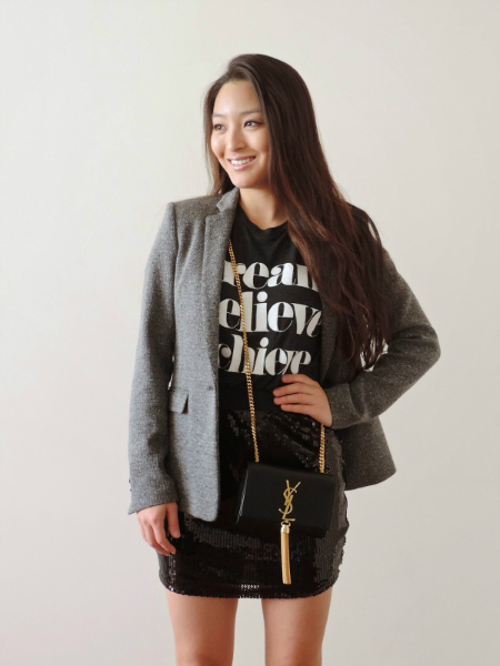 Just a Girl, sequin skirt, graphic tee,