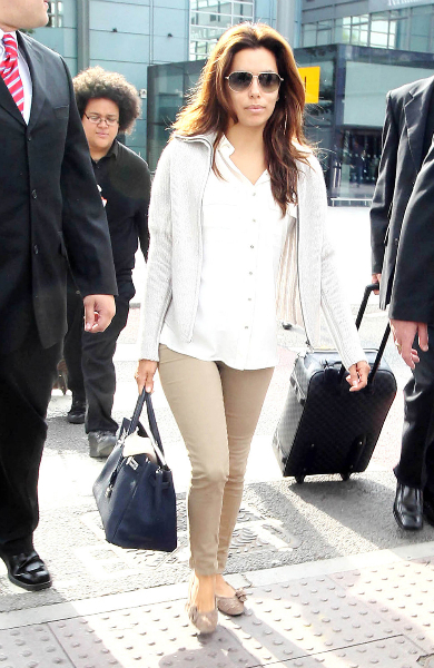 Eva Longoria Wearing a White Collar Shirt