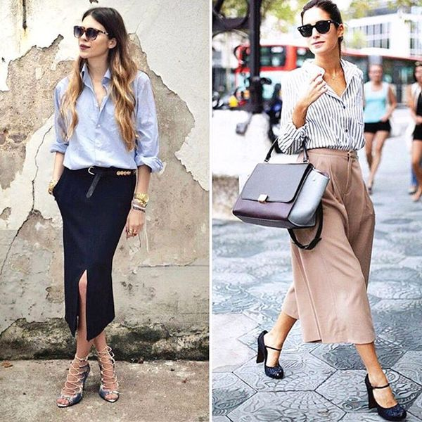 Would you rather style a dress shirt with A) culottes or B) pencil skirt?, workwear, shirt, culotte, pencil skirt