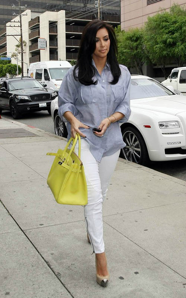 Kim Kardashian in white pants