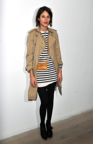 Alexa Chung in a trench coat
