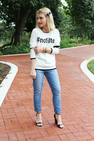 NO FILTER IN MY HEAD OH, WHAT'S A BOY TO DO, I GUESS HE BETTER FIND ONE SOON…, statement sweatshirt, fall, bow, text