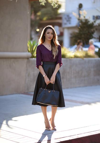 The Perfect Purple, midi skirt, pump