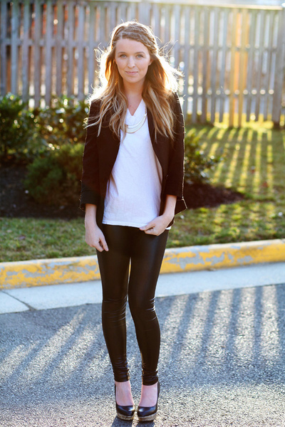 Faux-Leather Leggings, leather, leather leggings, black and white