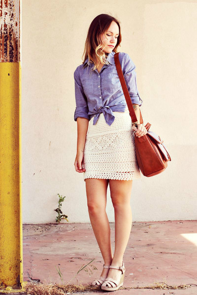 Chambray and Crochet, chambray, chrochet, skirt, wedges