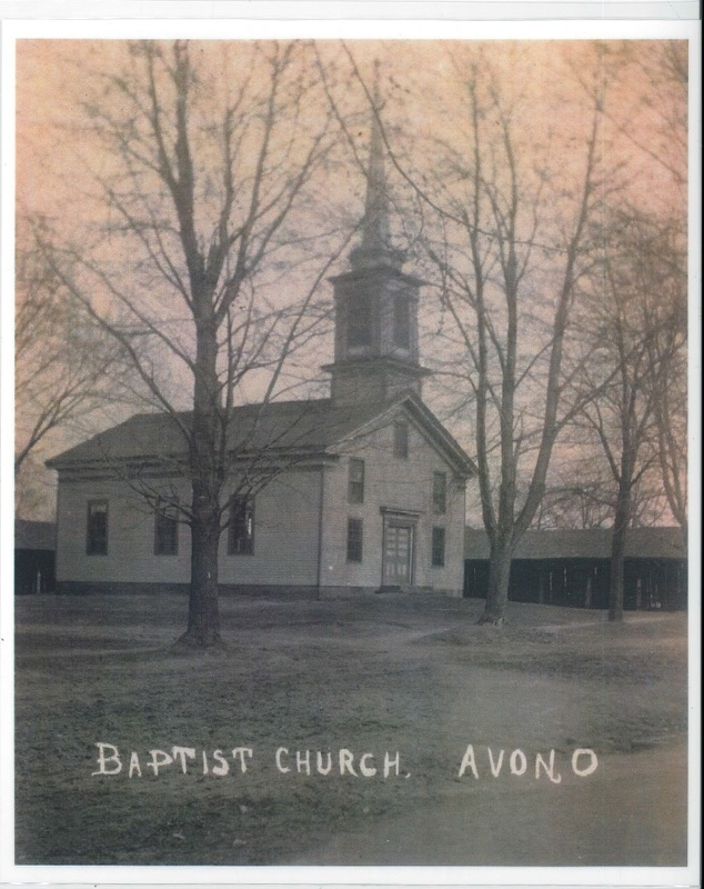Baptist Church looking south from Stoney Ridge and Julian St.  Oldest wood frame church in Avon c.1900