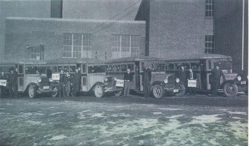 Avon Village School Detroit Rd. school buses c.1934