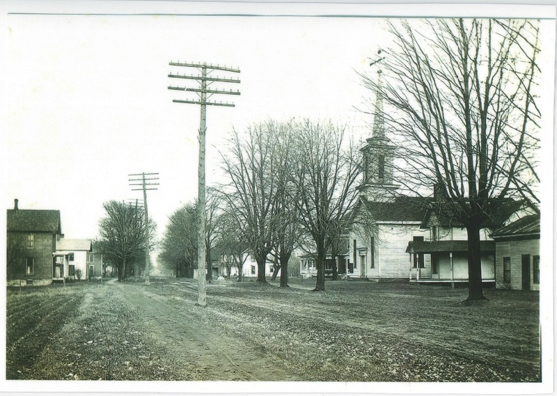 Detroit Rd. looking east from Hays St.  Original Methodist Church to the right. c.1905