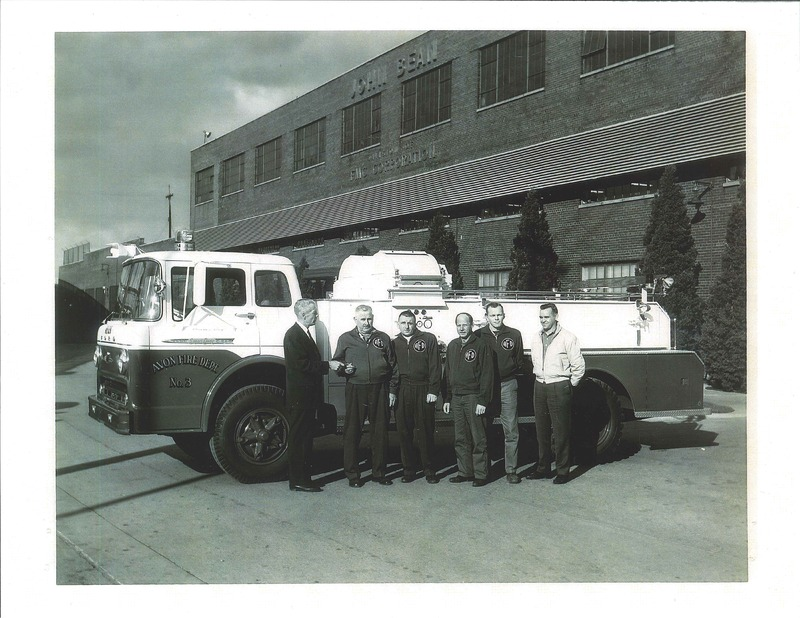 Avon Fire Department buying new fire truck.  Photo taken at John Bean FMC Corporation in Lansing, Michigan in 1962.  L to R: FMC Instructor DE Johnston, AFD Cyril Miller, Del Kempf, Don Casper, Bob Buck, and Paul Hogrefe.