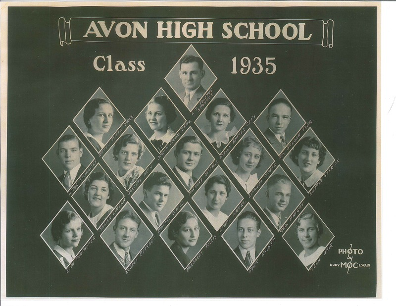 Avon High School 1935 class picture.