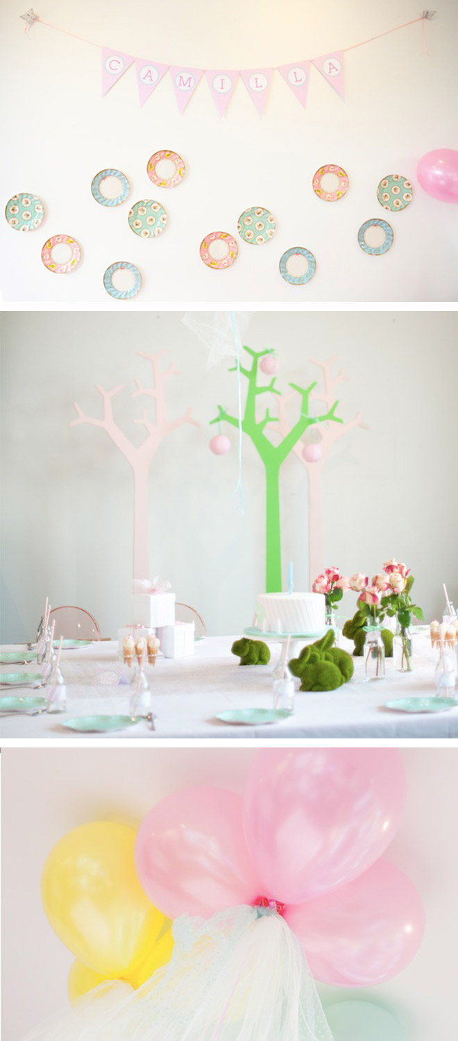 Ice Cream Party styling ideas with paper plates, pastel bunting and fun accessories