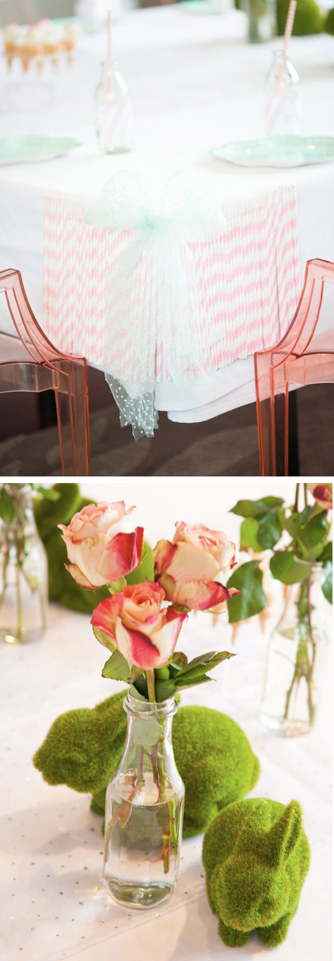 Ice Cream Party Styling and Decorations. Fresh flowers, pastel coloured paper straws and pink chairs