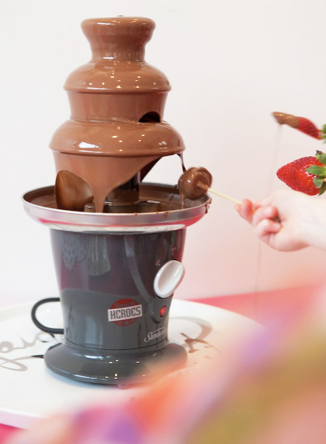 ICe Cream Party Ideas: Chocolate fountain and strawberry skewers