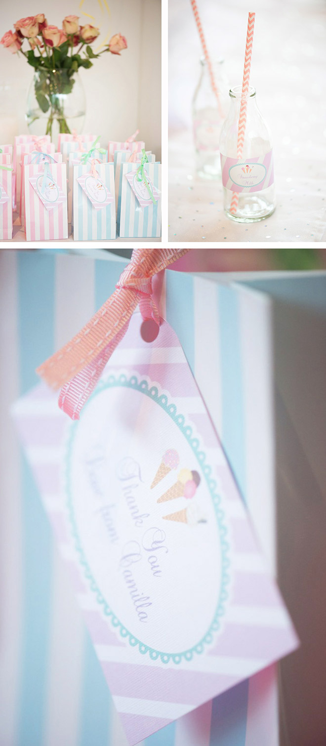 Ice Cream Party Ideas: Party Stationary featuring favour bags and personalised drink bottle labels