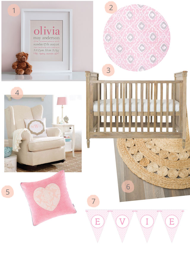 Linen Birth Print for Girls Moodboard